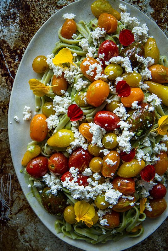 Creamy Bssil Pasta with Cherry Tomatoes and Almond Ricotta