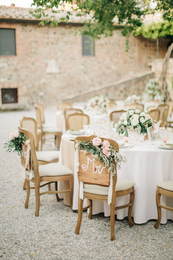 Rustic classic Tuscan inspired wedding decor: http://www.stylemepretty.com/destination-weddings/2017/01/12/saying-i-do-in-tuscany-never-disappoints/ Photography: M and J - http://www.mandjphotos.com/#photo-4454