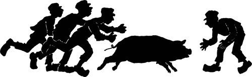 farmers chasing hog pig png clip art Printable Images graphics digital download animal silhouettes clipart