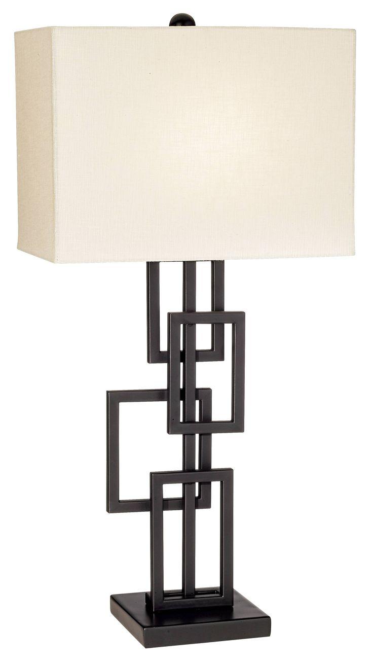 possini euro design black bronze floating squares table lamp