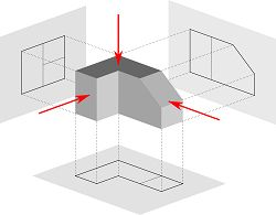 Orthographic drawing (first angle projection) || Inka Anggraeni • kelompok 3 kelas 1