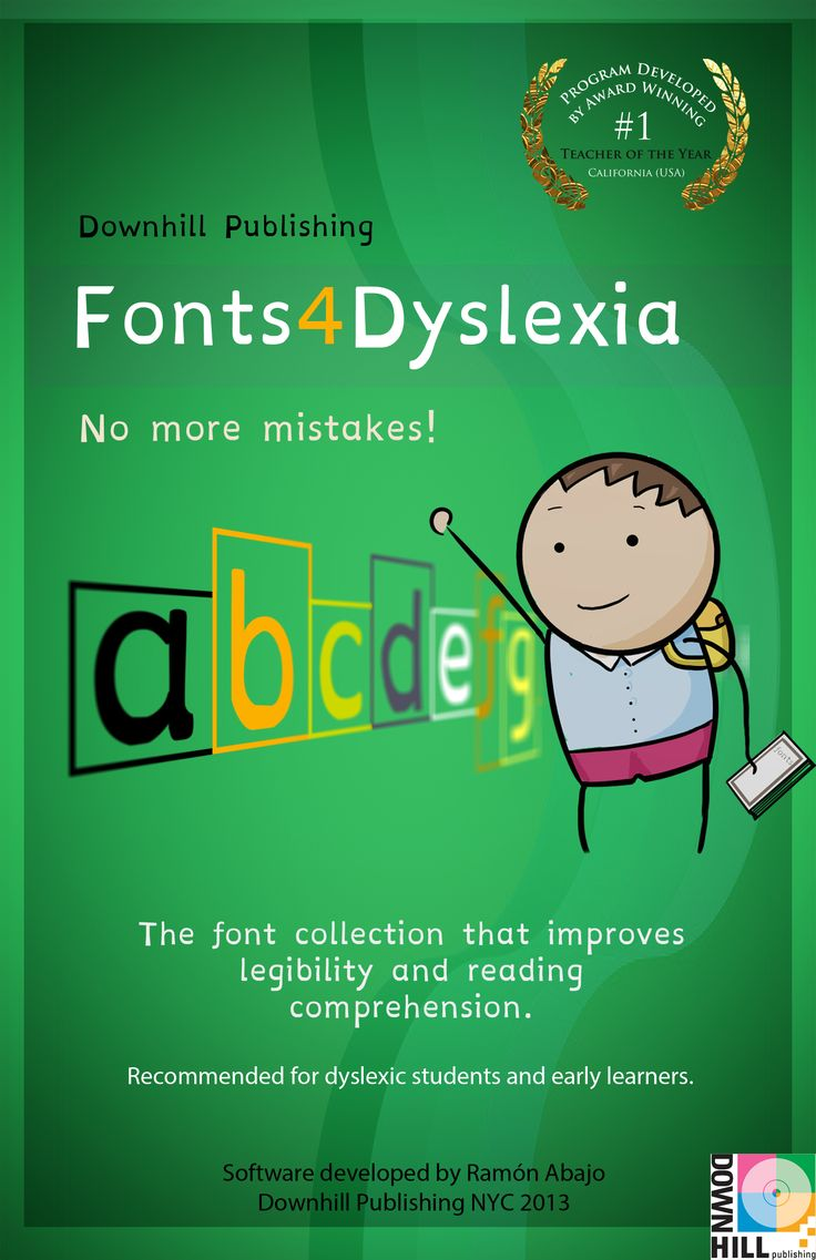 A new collection of fonts designed for dyslexics and special needs students makes it easier for them to:      Recognize characters (improve legibility)     Comprehend what they read better (improve readability)     Practice their initial handwriting     Avoid common reading and writing mistakes
