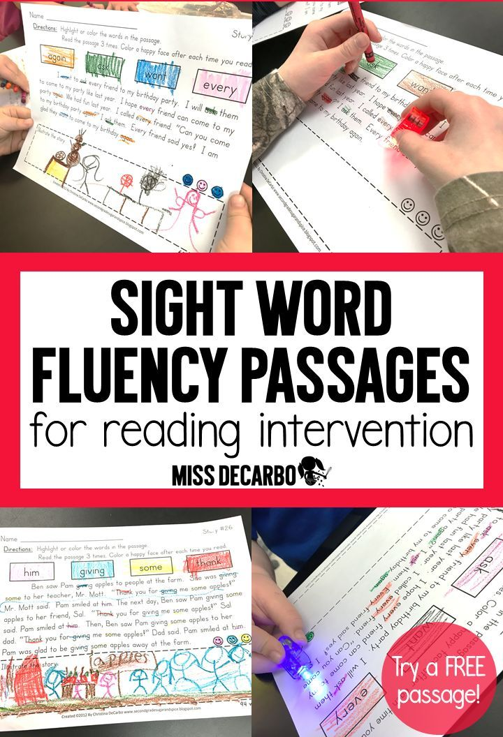Do you have students who can quickly read sight words on a flashcard but then struggle to read the words within the context of a story? Your students will LOVE these sight word fluency passages for reading intervention! They are perfect for struggling re