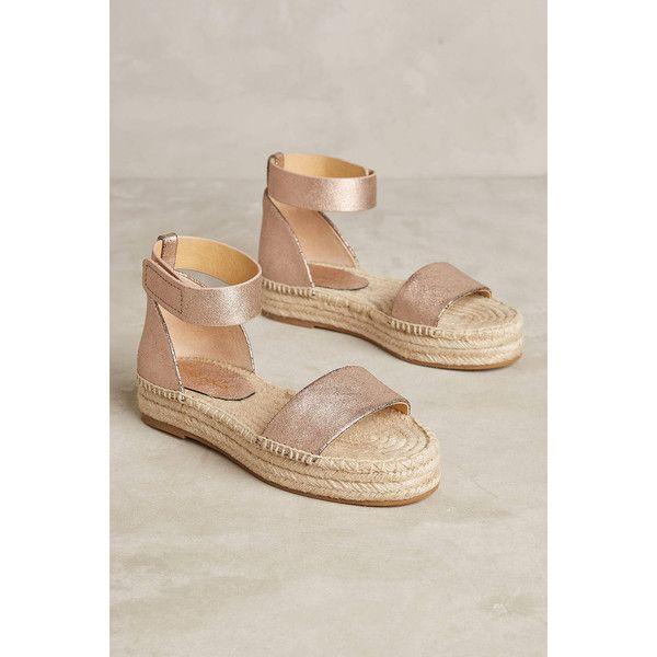 Splendid Jensen Flatform Espadrilles ($108) ❤ liked on Polyvore featuring shoes, sandals, novelty, leather upper shoes, espadrille sandals, metallic espadrilles, raffia shoes and espadrilles shoes