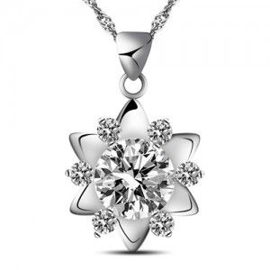 Shining Star 925 Solid Sterling Silver Pendant White Gold Plated