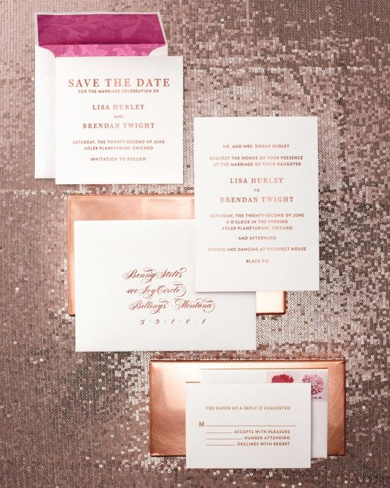 In this shiny suite by Spark Letterpress, luminous print electrifies matte white card stock. The effect, achieved by stamping foil into the paper with custom die-cut plates, is elegant and unexpected. Save money by DIY-lining the envelopes with a roll of inexpensive foil paper.Calligraphy by Cheryl Tefft of CalligraphicsChampion Stamp Co. postage stampsWindsor Floral foil paper, michaelsfloralsupply.com