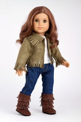 DreamWorld Collections Siege Jacket - 4 piece outfit includes jacket, tank top, skinny jeans and boots - American Girl Doll Clothes : Casual Doll Outfits