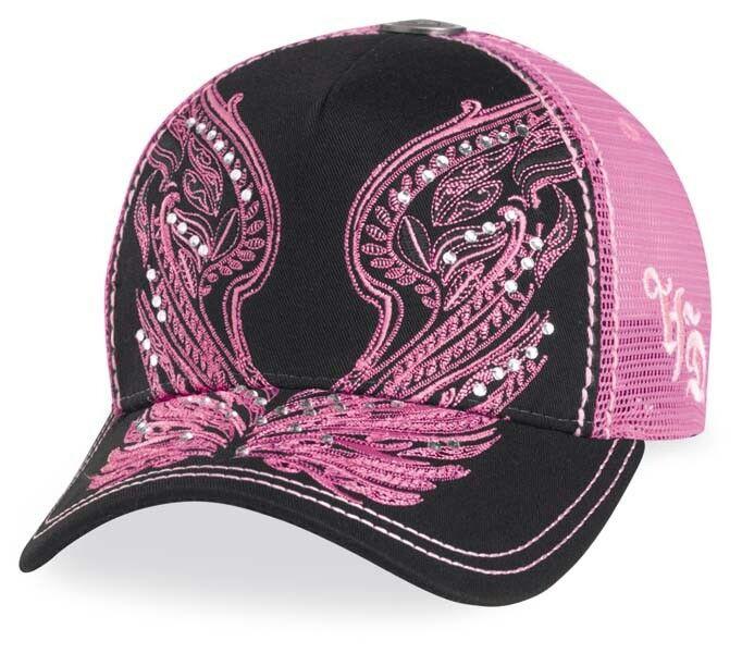Harley Davidson motorcyle Womens pink angel wings hat with bling rhinestones