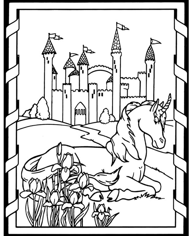 Two unicorn coloring pages ColoringHorses