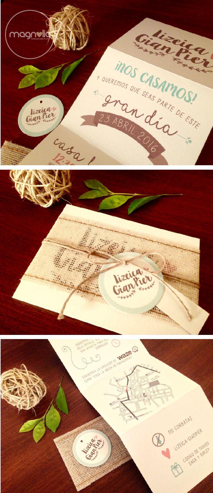 Invitación ideal para una boda campestre y divertida!   #InvitacionesDeBoda…