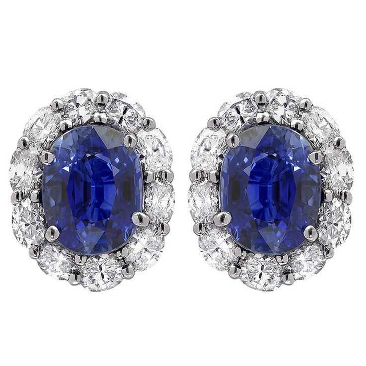 7.45 Carat Sapphire and Diamond Earrings | From a unique collection of vintage stud earrings at https://www.1stdibs.com/jewelry/earrings/stud-earrings/