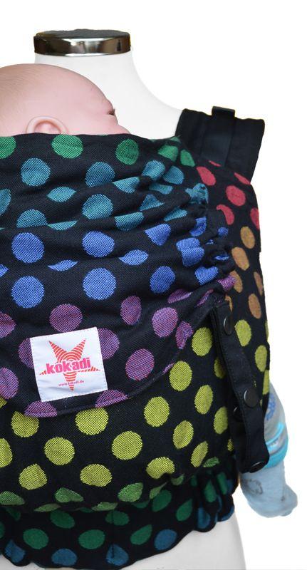 kokadi baby carrier - black rainbow dots