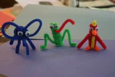 When I was younger I remember making these little penguins out of pipe cleaners. I didn't have either black or white pipe cleaners so I thought we could make other animals. We made an elephant, a frog, and a bird. (Here I made a pipe cleaner Chameleon). Elephant, Frog, and Bird Pipe Cleaner Animals Supplies:Pipe Cleaners, Crazy Eyes, glue Frog: First coil a green pipe cleaner loosely around a pencil.