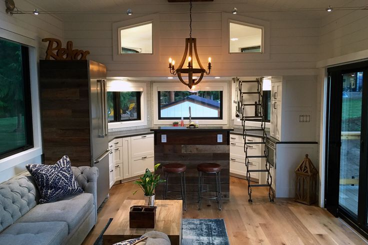 """Projector screen! Love it. A stunning tiny house on wheels by Tiny Heirloom, called the """"Hawaii House"""". I love this home! However, I just don't want a loft bedroom."""