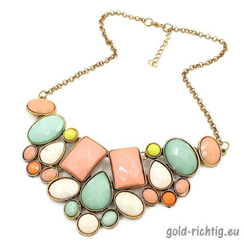 Statement-Kette-XXL-Blogger-Halskette-Collier-Vintage-Necklace-gold-bunt-NEU