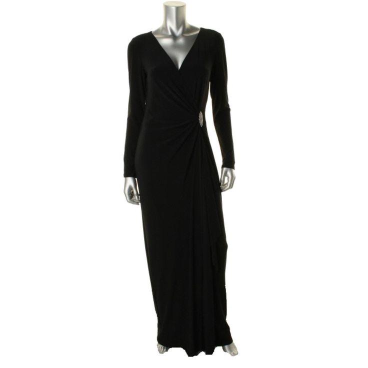 Lauren Ralph Lauren Womens Matte Jersey Long Sleeves Evening Dress