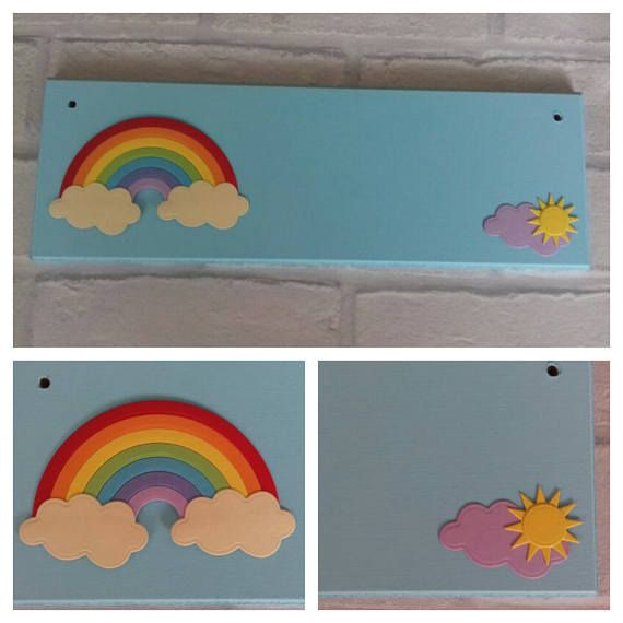 Rainbow Personalised Door Name Sign Name plaque. Any