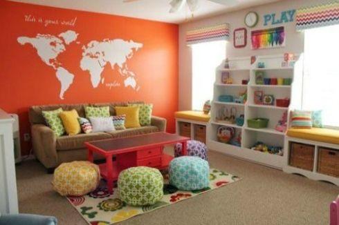 kids playroom   Osez la couleur sur les accessoires, avec un mur d'accent. Gardez le ...