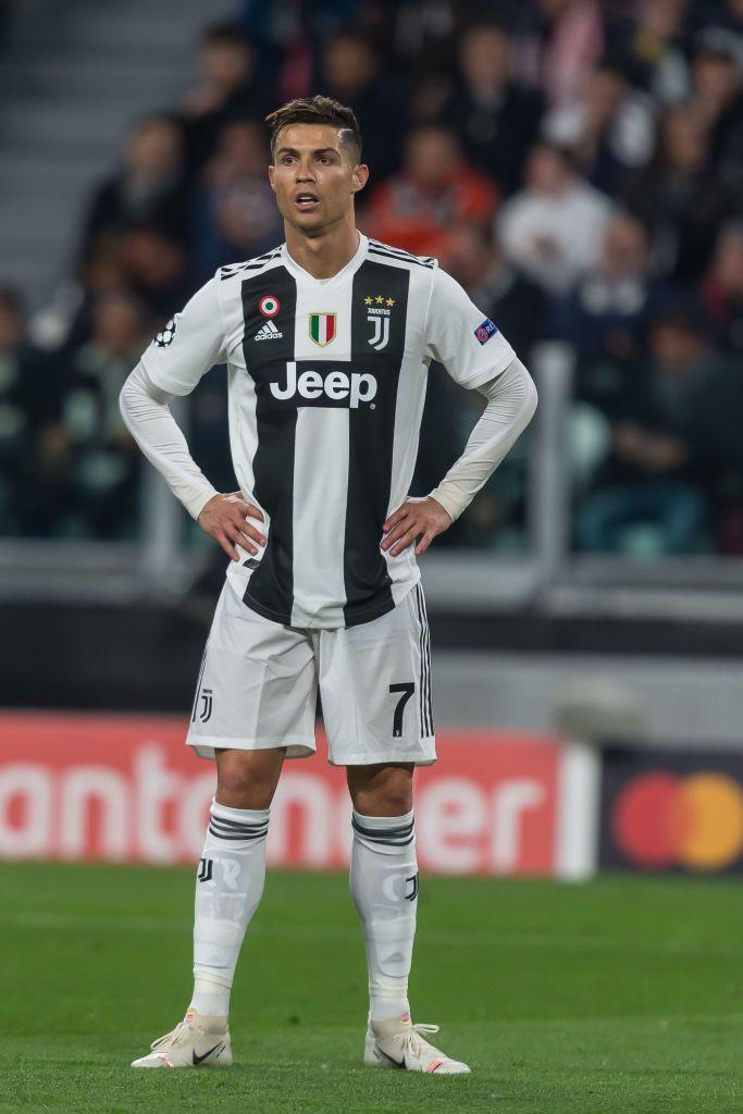Christiano Ronaldo Of Juventus Turin Looks On During The Uefa