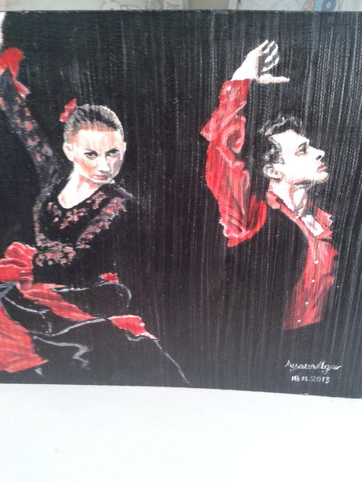35 40 duralit üzerine yağlı boya tablo fleenko tutkunun dansı