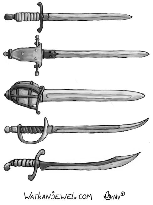Weapons: sword, sword, broadsword, backsword and Scimitar. Niels Vergouwen watkanjewel.com