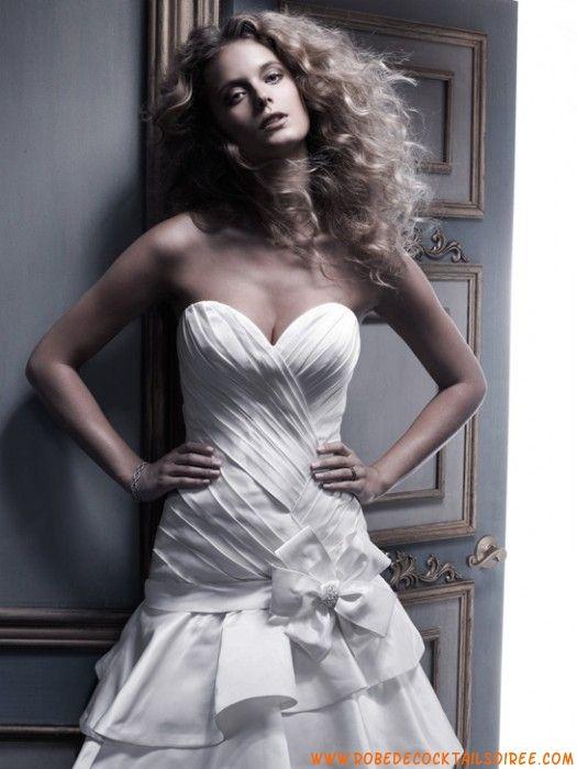 Robe évasé glamour 2013 pas cher drapé fleur robe de mariée tulle satin