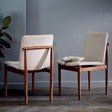 Framework Upholstered Dining Chair - Stone (Twill) #westelm