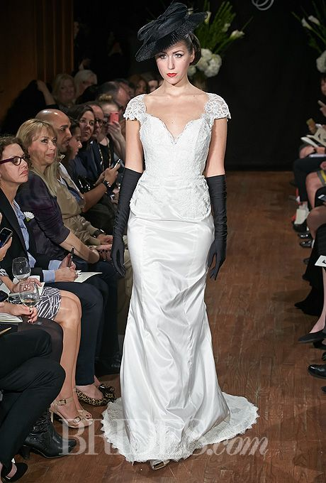 """""""Donna"""" Sarah Jassir Wedding Dress Fall 2014 Collection - Lace and Taffeta A-Line Gown with V-Front and Back"""