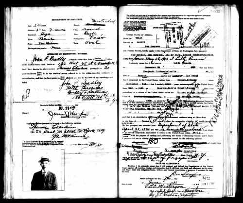 Ben Sampson  Passport #2  Birth Date: 	29 Dec 1895 Birth Place: 	Lubtz, Russia Age: 25 Passport Issue Date: 	22 Jul 1921 Passport Includes a Photo: 	Yes Residence: 	Houston, Texas Father Name: 	Benjamin Schimschelevitz Father's Birth Location: 	Russia Father's Residence: 	Deceased (NARA); Washington D.C.; Passport Applications, January 2, 1906 - March 31, 1925; Collection Number: ARC Identifier 583830 / MLR Number A1 534; NARA Series: M1490; Roll #: 1696.