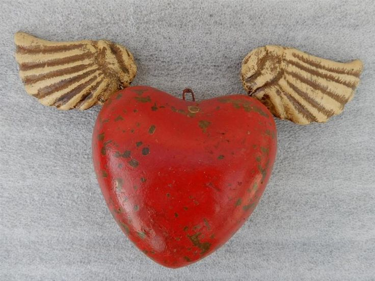"RedHeart with Wings ""Corazon con Alas Rojo"", Winged Heart Mexican Pottery Art #Mexico #LosCocosStore"