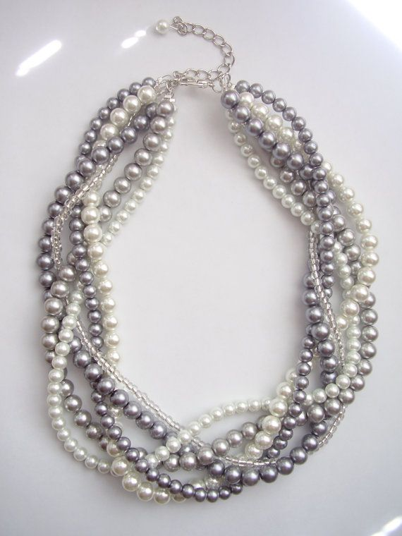 Custom order necklaces braided twisted chunky statement pearl necklace. $35.00, via Etsy.