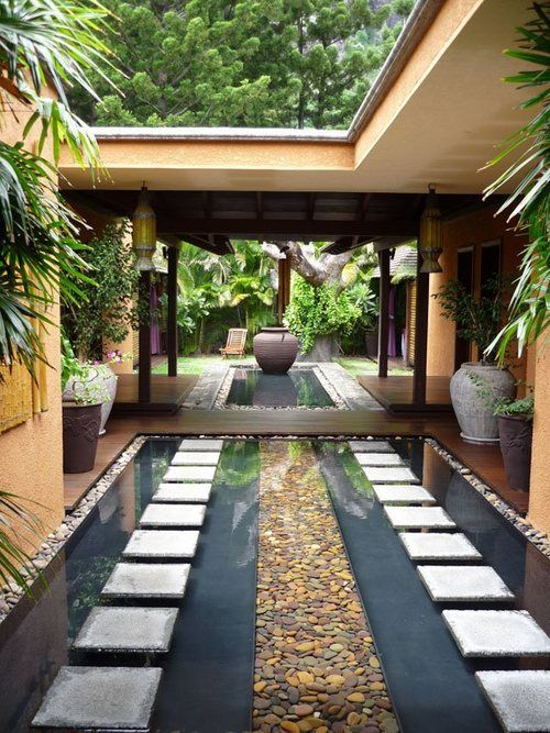 Zen courtyard outside pinterest gardens the present for Courtyard designs with spa