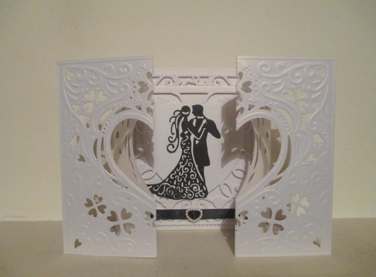 WEDDING CARD - Die'sire create a card 'Romance' die, Tattered Lace 'art deco couple', black ribbon and pearl heart embellishment