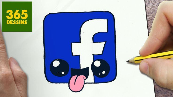 COMMENT DESSINER LOGO FACEBOOK KAWAII ÉTAPE PAR ÉTAPE – Dessins kawaii f...