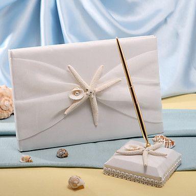 zeesterren en zee shell strand thema bruiloft gastenboek en pen set – EUR € 20.62