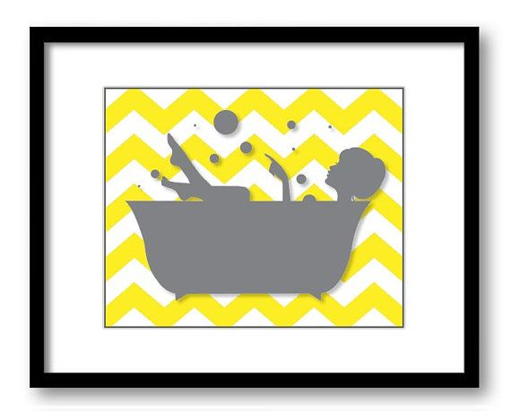 Bathroom Decor Bathroom Print Grey Girl Yellow by CustomArtPrints, $1.20