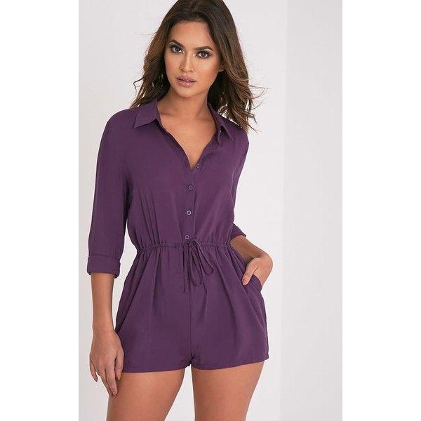 Jenna Aubergine Tie Waist Shirt Playsuit ($9.03) ❤ liked on Polyvore featuring jumpsuits, rompers, purple, playsuit romper and purple romper