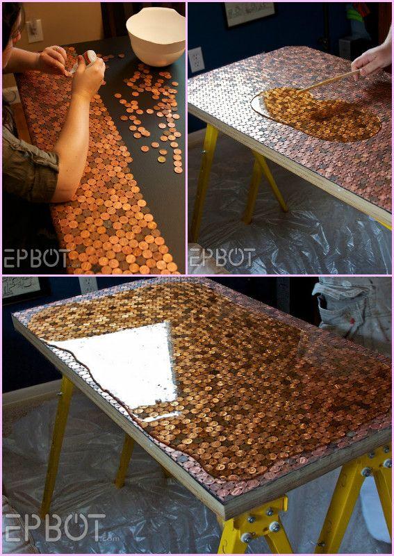 DIY Epoxy Glaze Coated Penny Table Top Project   – DIY ideas