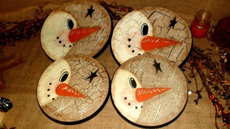 PRIMITIVE WOOD CRACKLE SNOWMAN STOVE OVEN BURNER COVERS COUNTRY CHRISTMAS DECOR #Country #ME