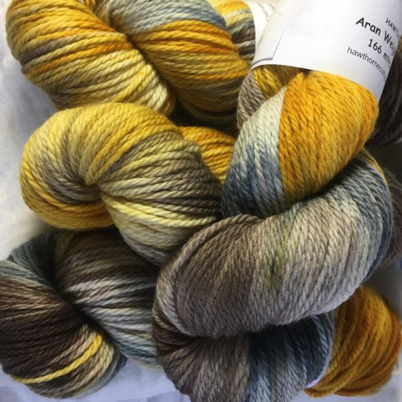 Gold Brown and Grey Hand Dyed 10ply Aran by hawthornecottage
