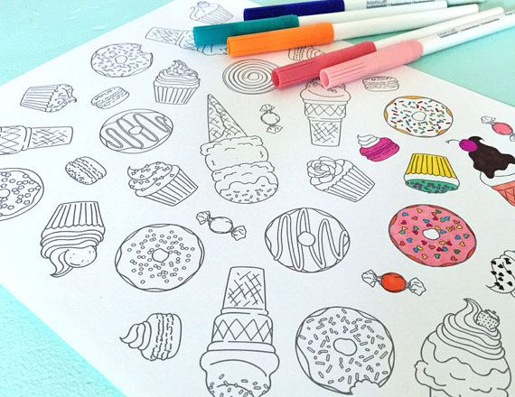 Printable SWEETS Coloring Page Digital File Instant Download Donuts Ice Cream Cone Macaroon Candy Cupcake