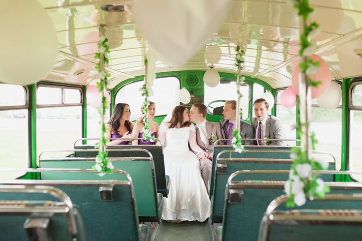 Bridal party old bus