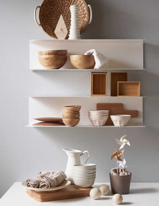 I love this white and wood combo :) going this all over the house!