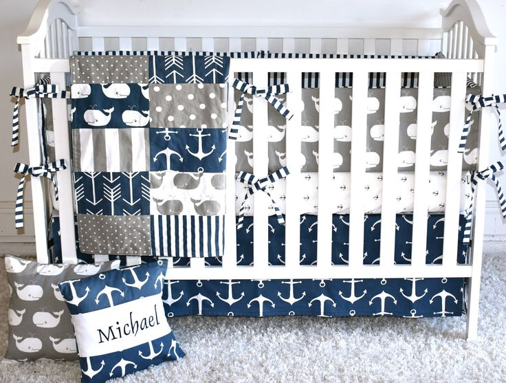 Sophisticated Modern Nautical Nursery: 4 Piece Set- Anchors And Whales Crib Bedding, Modern