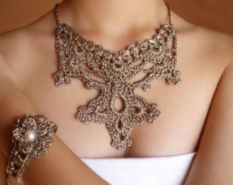 Collar de boda Joyeria nupcial Collar dorado de por DIDIcrochet