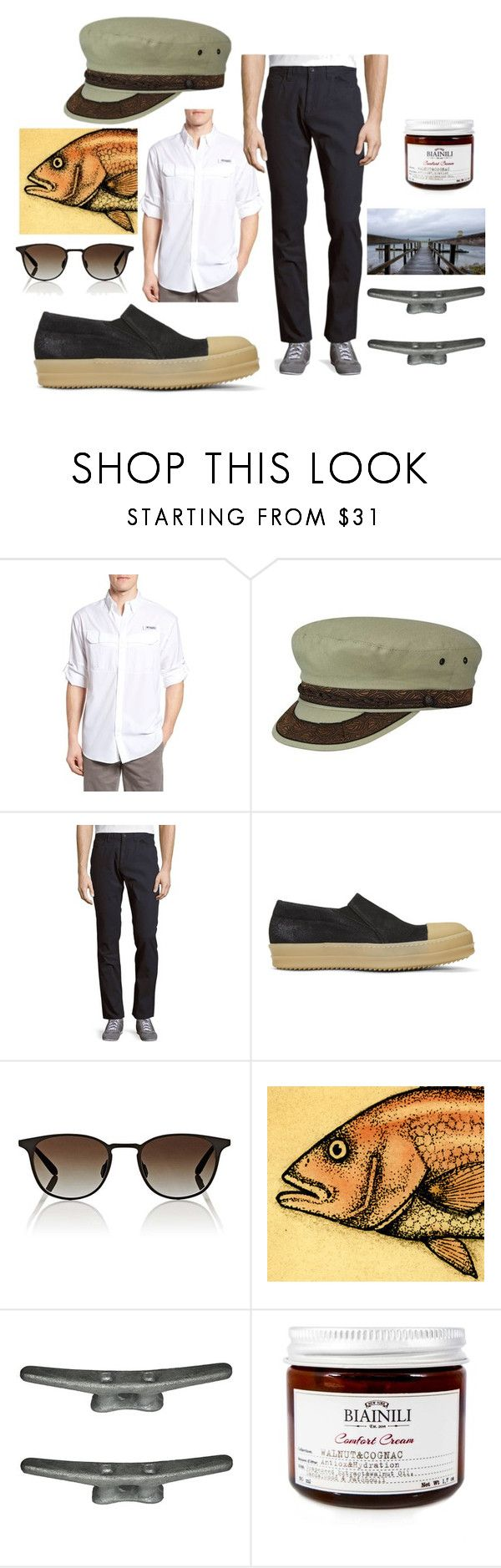 """""""Untitled #3774"""" by moestesoh ❤ liked on Polyvore featuring Columbia, Country Gentleman, Perry Ellis, Rick Owens, Garrett Leight, Game Fish and Seabrook"""