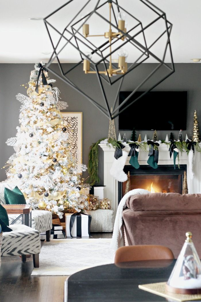 Our Simple Elegant Christmas Family Room This Is Our Bliss Christmas Living Rooms Elegant Family Room Christmas Home