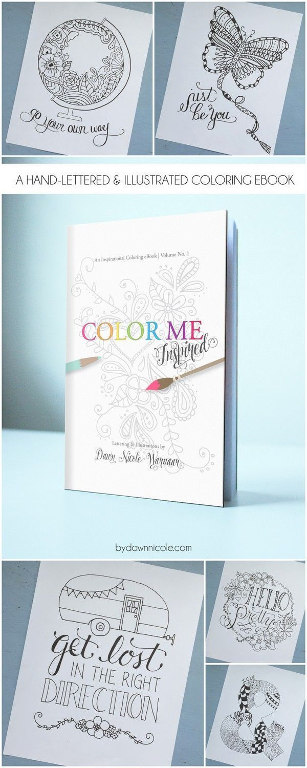 This printable Color Me Inspired book looks like so much fun! An Inspirational Adult Coloring Page - could have fun and add to my home decor.