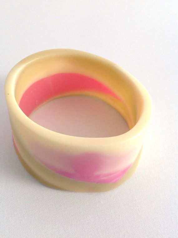 Pink and smoky brown resin bangle/ bracelet by BBsArtandDesign, $50.00