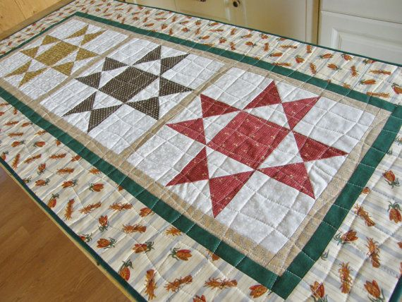 Traditional Table Runner  Ohio Stars by MoonDanceTextiles on Etsy, $50.00